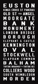 Northern Line Underground Line Destination Word Art|London-Northern-Line-Contemporary