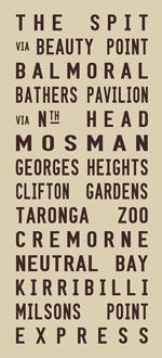 The Spit to Milsons Point via Mosman Tram Roll Signs|The Spit - full Line