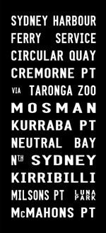 SYDNEY HARBOUR tram banner, bus sign art