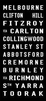 MELBOURNE tram banner sign, bus destination canvas