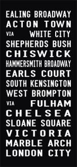 EALING BROADWAY tram scroll, bus canvas art, destination print
