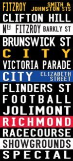 Vintage Fitzroy to the Racecourse via Flinders Street Canvas Word Art|Fitzroy - Full Line