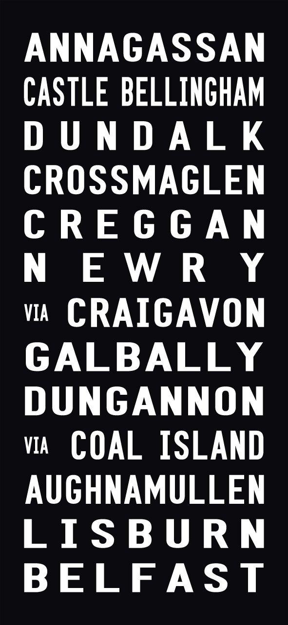 Belfast Tram Destination Word Art on Canvas|Belfast - Full-Line