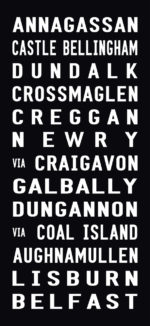 Belfast Tram Destination Word Art on Canvas|Belfast - Full-Line