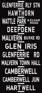 Glen Ferrie Station via Hawthorn Tram Route Sign Art|Glen Ferrie Railway Station to Hartwell via Hawthorn Tram Route Sign Art