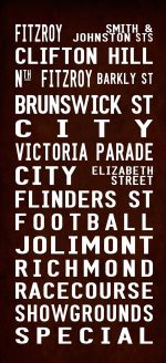 Vintage Reproduction Melbourne Fitzroy via Flinders Street Sign Art|Fitzroy Full-Line Antique effects 1