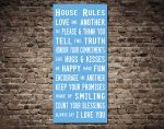 House Rules Typographic Word Art Canvas Printing Brisbane