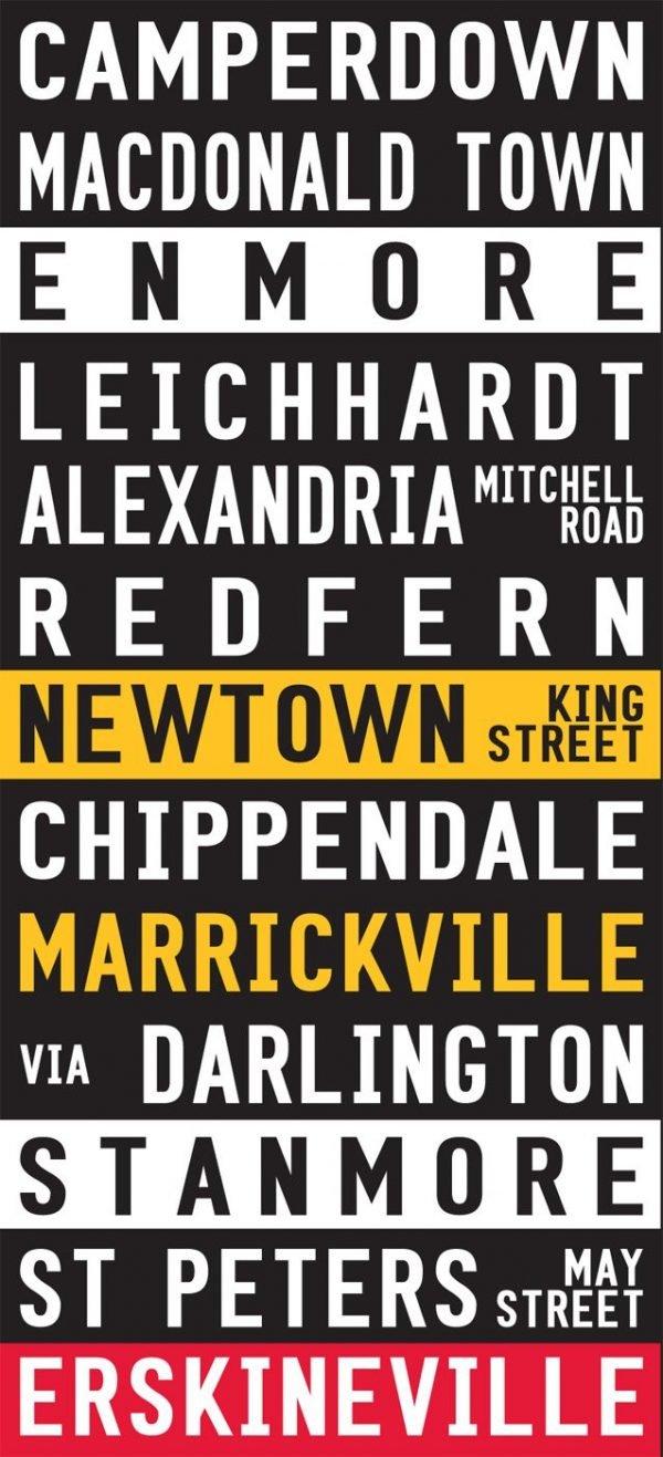 Camperdown to Erskineville Sydney Inner West Tram Scroll on Canvas|Inner West- Coloured scroll