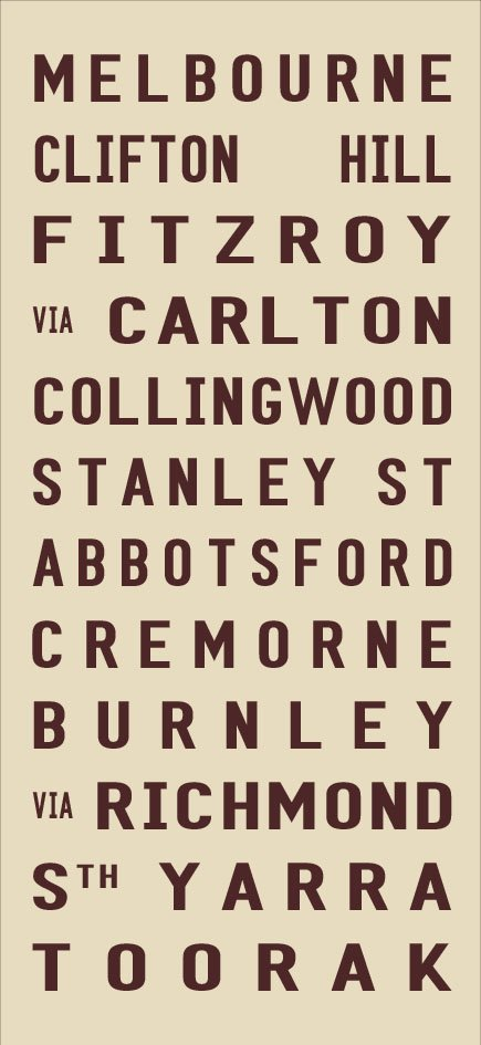 Melbourne to Cremorne Tram Destination Blind Canvas Art|Melbourne - Full Line - biege