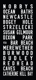 Reproduction Tram Roll Sign Words Art for Nobby's Beach|Nobby's Beach - Full Line