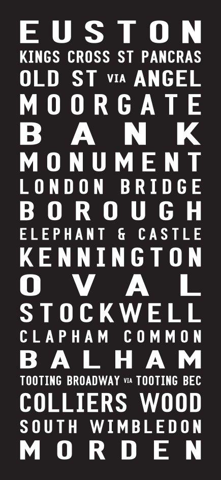 Northern Line Underground Line Destination Word Art|London-Northern-Line-Contemporary