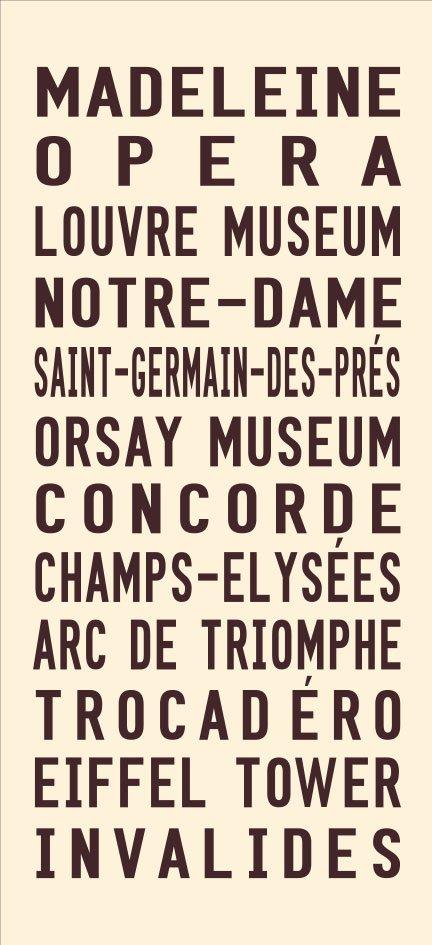 Vintage Paris Tram Roll Signs Wall Art Online Gallery|Paris - Full Line - cream