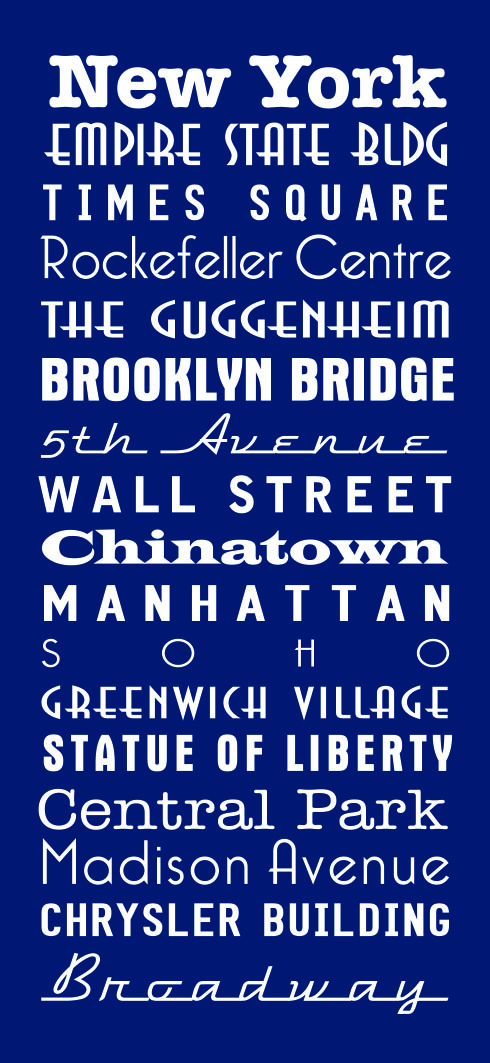 New York Royal Blue Bus Scroll|New York Navy Blue Bus Scroll