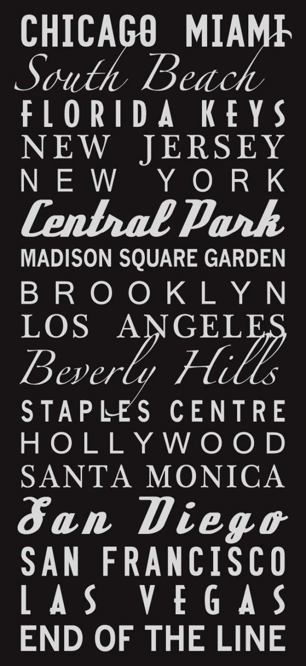 USA Locations Multi-Font Style Destination Subway Word Art|USA Multi-Font design
