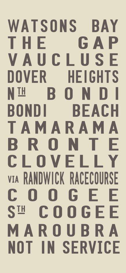 Watsons Bay to Maroubra via Sydney's Eastern Beaches Tram Banner Art Watsons Bay - Full Line - beige