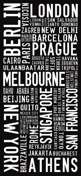 World Cities Modern Tram Scroll Word Art