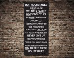 House Rules Typography Tram Banner on Canvas