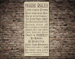 House Rules Typography Tram & Bus Banner on Canvas Print